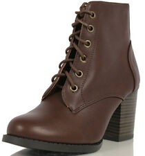 Soda Brown Faux Leather Lace Up High Chunky Heel Ankle Booties Korman