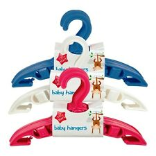 BABY TODDLER  CLOTHES COAT HANGERS WHITE PINK BLUE NURSERY WARDROBE SPACE SAVER