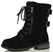 Forever KID'S Black Faux Suede Lace Up Ankle Combat Boots Mango 63k
