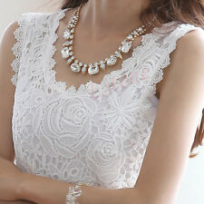 New Women Sexy Floral Lace Crochet Vest Sleeveless Tank Top Tunic Shirt Blouse