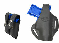 New Black Leather Pancake Gun Holster + Dbl Mag Pouch for Glock Comp 9mm 40 45