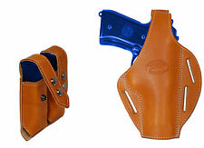 New Barsony Tan Leather Pancake Holster + Dbl Mag Pouch Ruger Full Size 9mm 40