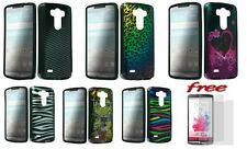 LG G3 Rubber Hard Plastic Protector Solid Color Snap on Case Cover +2 Free Films