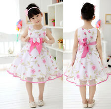 New Kids Girls Bow Belt Floral Princess Party Vest Dress For 2-13 Years