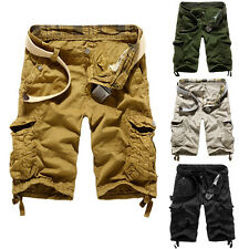 Mens Cotton Summer Army Combat Camo Work Cargo Shorts Pants Trousers size 29-38