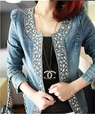 New slim Jackets Patchwork Denim Jeans Coat Classical Jackets Women Fashion