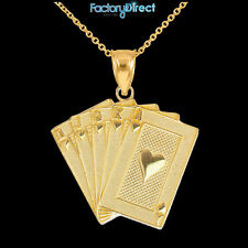 Gold Royal Flush Pendant Necklace Hearts A K Q J 10 Poker Cards Casino Las Vegas