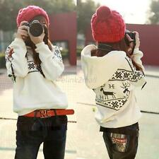 Casual Womens Deer Print Fleece Jacket Coat  Hoodies Sweatshirt Outerwear Tops