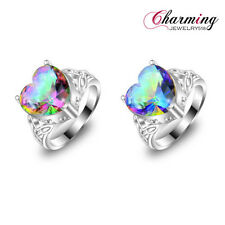Romantic Love Heart Rainbow Fire Mystical Topaz Gemstone Silver Ring Us Sz 7 8 9