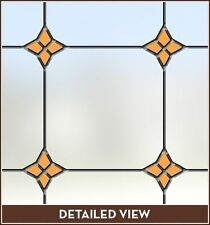 Amber Yelow Gold Accents Adhesive-Free Stained Glass Window Film Cling