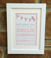 Personalised Christening/Baptism/New Baby Framed Print, Perfect Gift
