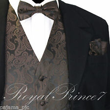 BROWN XS to 6XL Paisley Tuxedo Suit Dress Vest Waistcoat & Bow tie & And Hankie