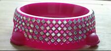 Custom Pink Crystal/Bling/Diamante Dog/Cat Feeding Or Drinking Bowl Or Dish S-XL
