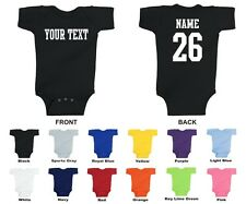 Custom Name & Number Personalized Baby One Piece, Choose Text STRAIGHT TEXT