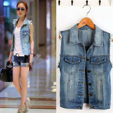 Trendy Personalized Waistcoat Jean Jacket Outerwear Frayed Cardigan Denim Vest