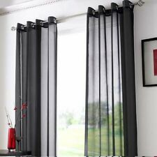 Pair of Sheer Curtain Voile Window Curtains eyelet black color 2 pcs