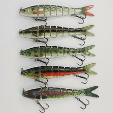 New Fishing Lures Baits Tackle 8 Sections Treble Barb Hooks Freshwater Sea Hard