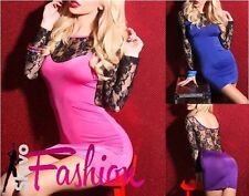 New Sexy Womens Clubbing Tunic Fashion Dress Ladies Lace Long Sleeved 6-8