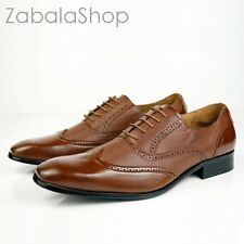 Delli Aldo Fashion Oxfords Mens Dress Shoes Classy Wingtip Brown Style in Italy
