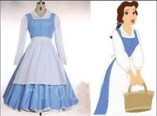 Beauty and The Beast Belle Princess Blue Maid Dress Made Coplay Costume