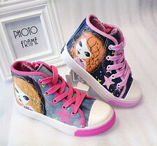 Print Kids Girls High Top Soft Casual Canvas Shoes Zipper Lace Up Sneaker Shoes