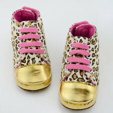 Baby Girl Infant Toddler Leopard Gold Crib Shoes Walking Sneaker Size 11,12,13