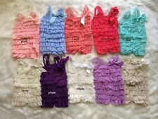 NEW Baby Girls Soft Lace Petti Romper Bodysuit Photo Prop Size 6-12-18-36 months