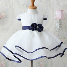 Toddler Kids Girl Bowknot Belt Tunic Dress Princess Tutu Puffy Dress Skirt Party