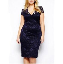 Plus Size Women New Sexy Deep V Bodycon Party Cocktail Evening Lace Pencil Dress