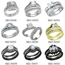 Wedding Ring Set Stainless Steel AAA Cubic Zirconia Women's Non Tarnish sz 5-11