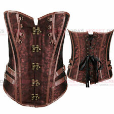 Halloween New Brown Overbust Retro Gothic Boned Steampunk Corset Basques Bustier