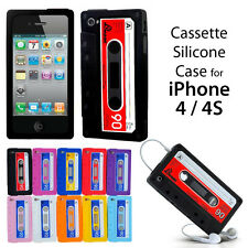 BUY 2 GET 1 FREE RETRO CASSETTE TAPE SILICONE RUBBER CASE FOR APPLE iPHONE 4 /4S