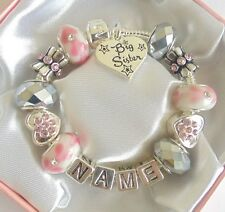 PERSONALISED CHILDRENS/GIRLS/LADIES CHARM BRACELET BEADS ANY NAME PINK SPARKLE