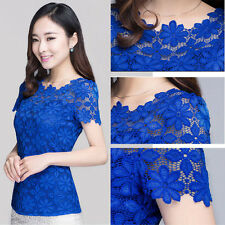 NEW Korean Fashion Lace LADY Shirts Short Sleeve Womens Tops Blouses Work M-5XL