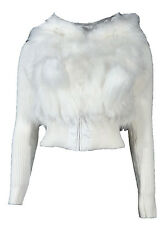 Ladies Faux Fur Jacket With Faux Fur Hood And Bobbles Fully Lined Sizes 10,12,14