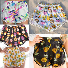Pom Pom High Waist Tassel Festival Tribal Print Boho Anchor Stripe Shorts SML
