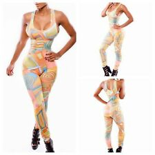Fashion Women Cartoon Sleeveless Slim Stretch Bodycon Rompers Jumpsuits Clubwear