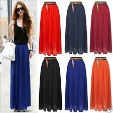 Hot Sale!Female Pleated Long Maxi Skirt Elastic Waist Band Dance Dress CA HF