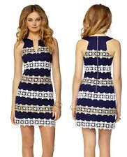 Lilly Pulitzer Augusta Shift Dress in True Navy Anchor Jcqd Boatwheel Lace Trim