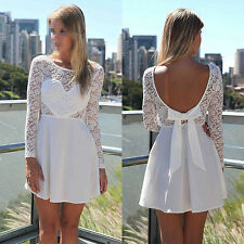 Sexy Women Casual Lace Butterfly Back Short Dress Party Evening Prom Club