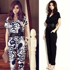 NEW Ladys Short Sleeve V Neck Jumpsuit Pants Playsuit Siamese trousers With