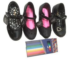 New Girls Infants kids Black School Shoes Velcro Party Patent size 10 to 2.5