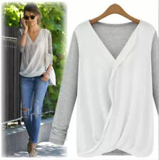 NEW Fashion Women Loose Casual Chiffon long Sleeve Shirt Tops lady V-Neck Blouse