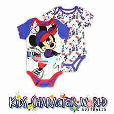 Mickey Mouse Romper Set (2) Jumpsuit Bodysuit Disney Licensed Baby Boy Girl BNWT