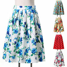 Vintage Rockabilly Floral Retro Swing 50s pinup Housewife Prom Dress Party Skirt