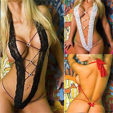 Women Sexy Lingerie Sleepwear Lace Mesh Babydoll Backless Nightwear Erotic Teddy