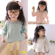 2014 New Baby Kids Girls Summer Casual Shirt Floral Doll Collar Sweater 2-7 Year