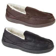 Mens Size 6 -12 MOCCASIN SLIPPERS Vinyl Look Fleece Lined Shoes Size Uk 7-12 New