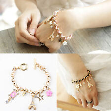 New Jewelry Multielement Gold Chain Leather Rope Crystal Handmade Bracelet
