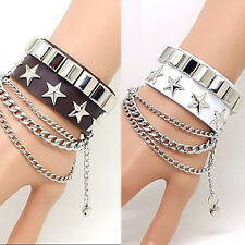 Punk Style Stars Spike Genuine Leather Bracelet Wristband Bangle Cuff New Gift